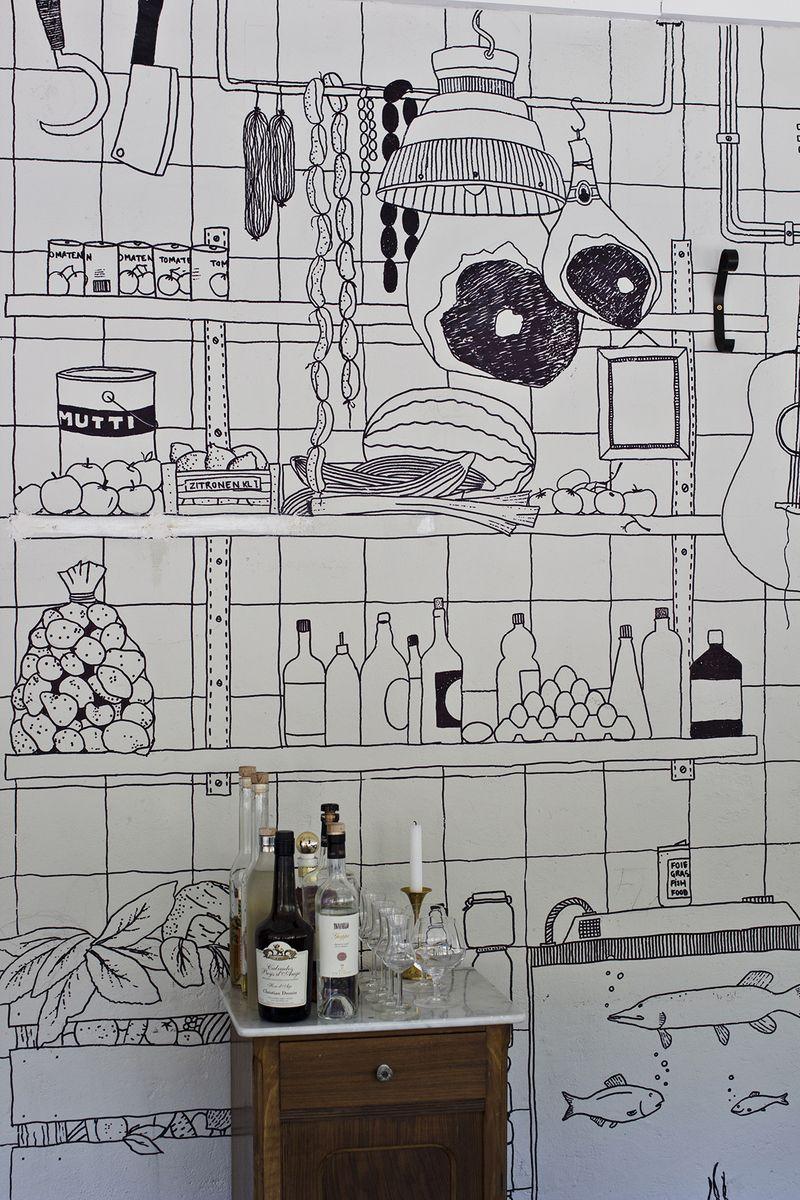 Cocina decorada con rotulador.